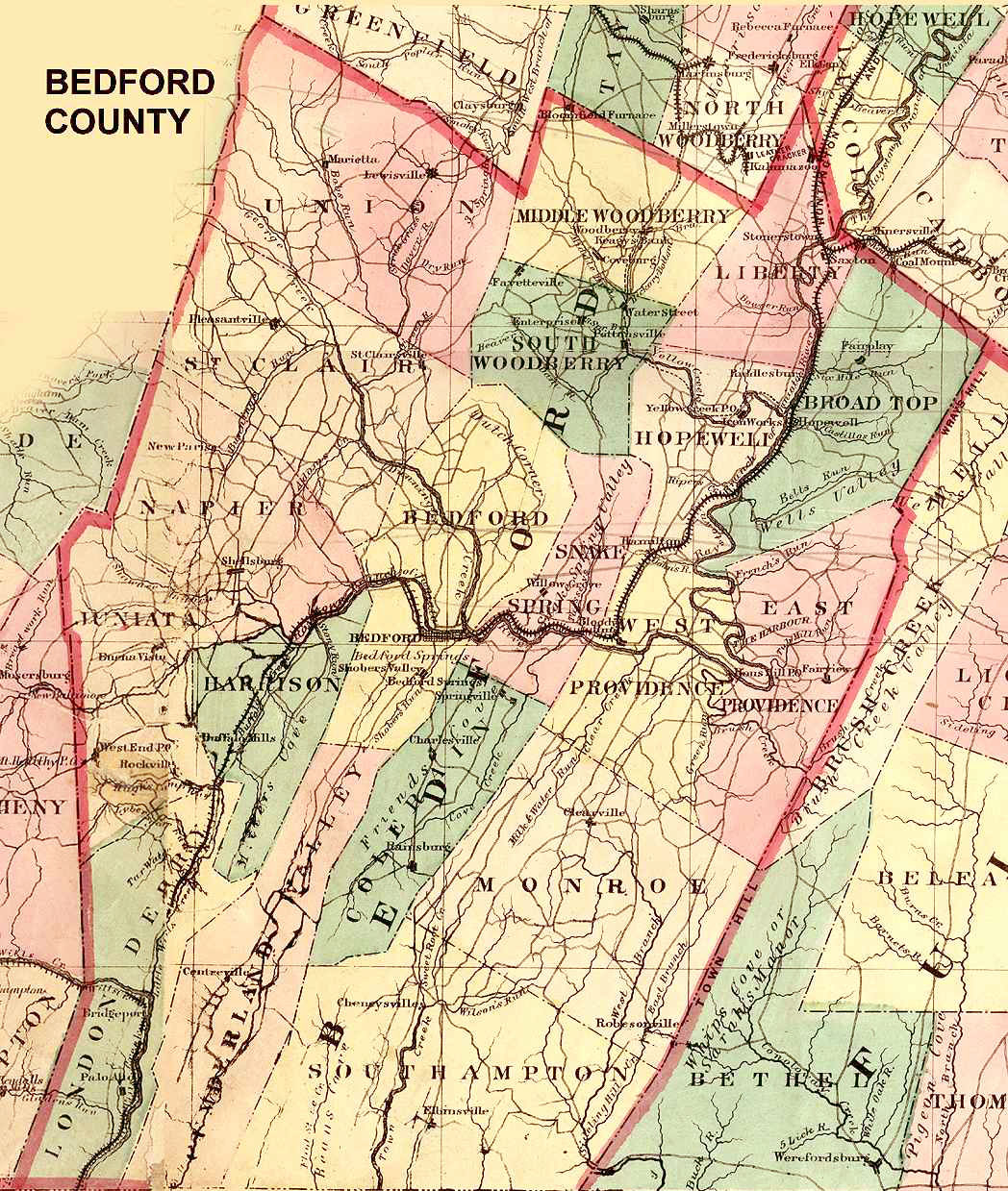 Ancestor Tracks: Bedford County Landowner Map, 1861