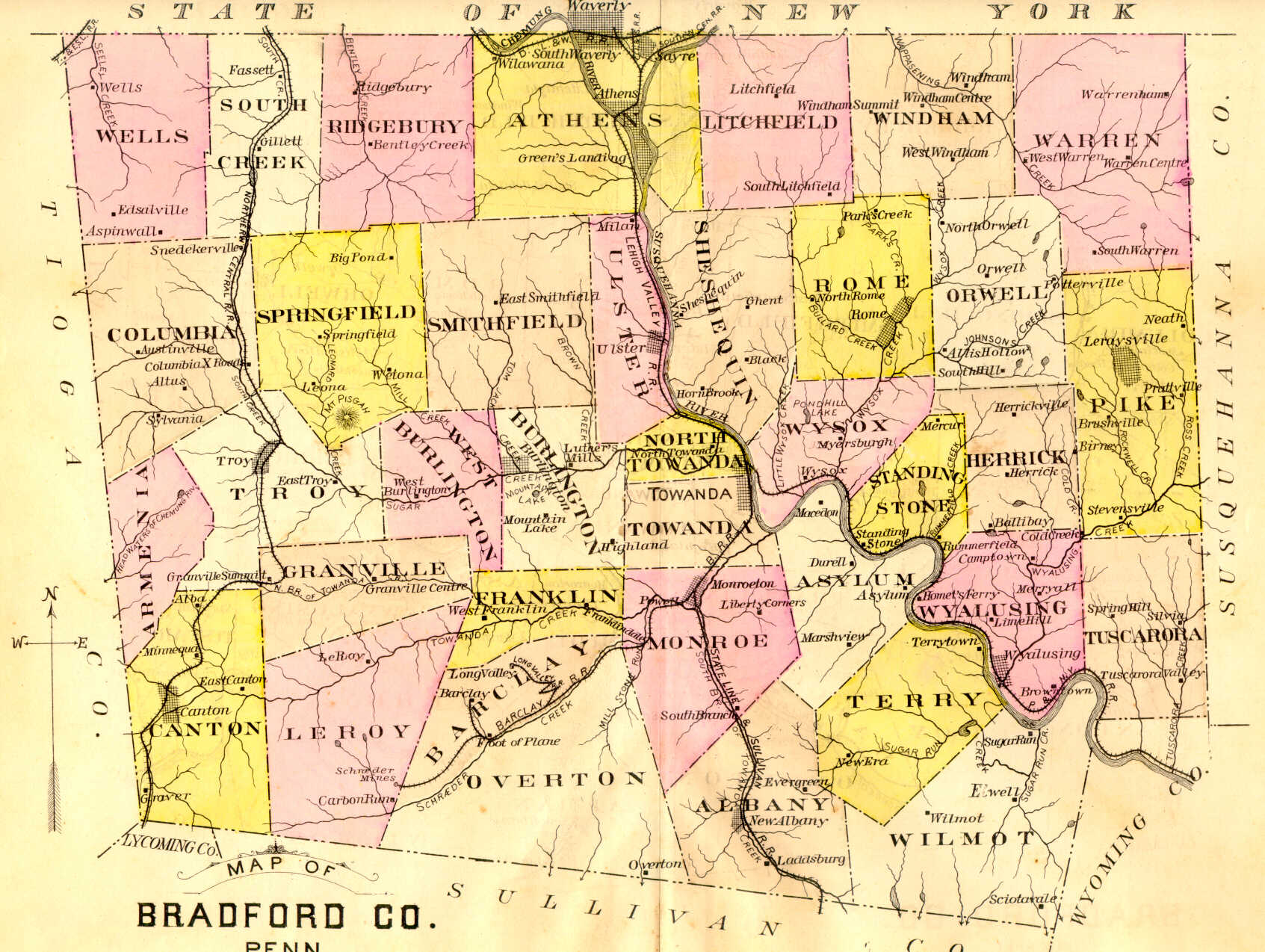 Bradford County Landowner Resources - Map of pa towns