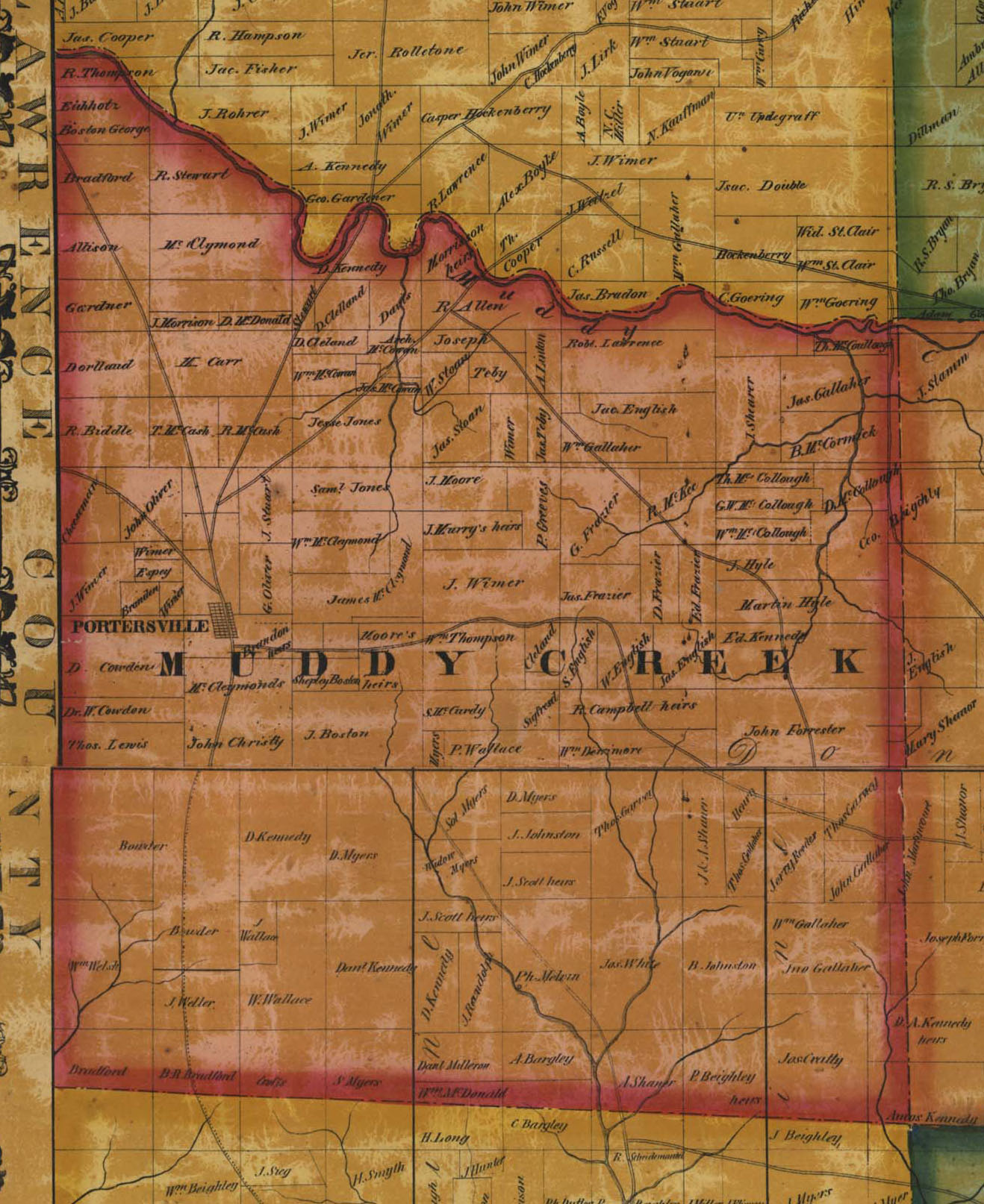 Butler County Tax Map Ancestor Tracks: Butler County Landowner Map, 1858