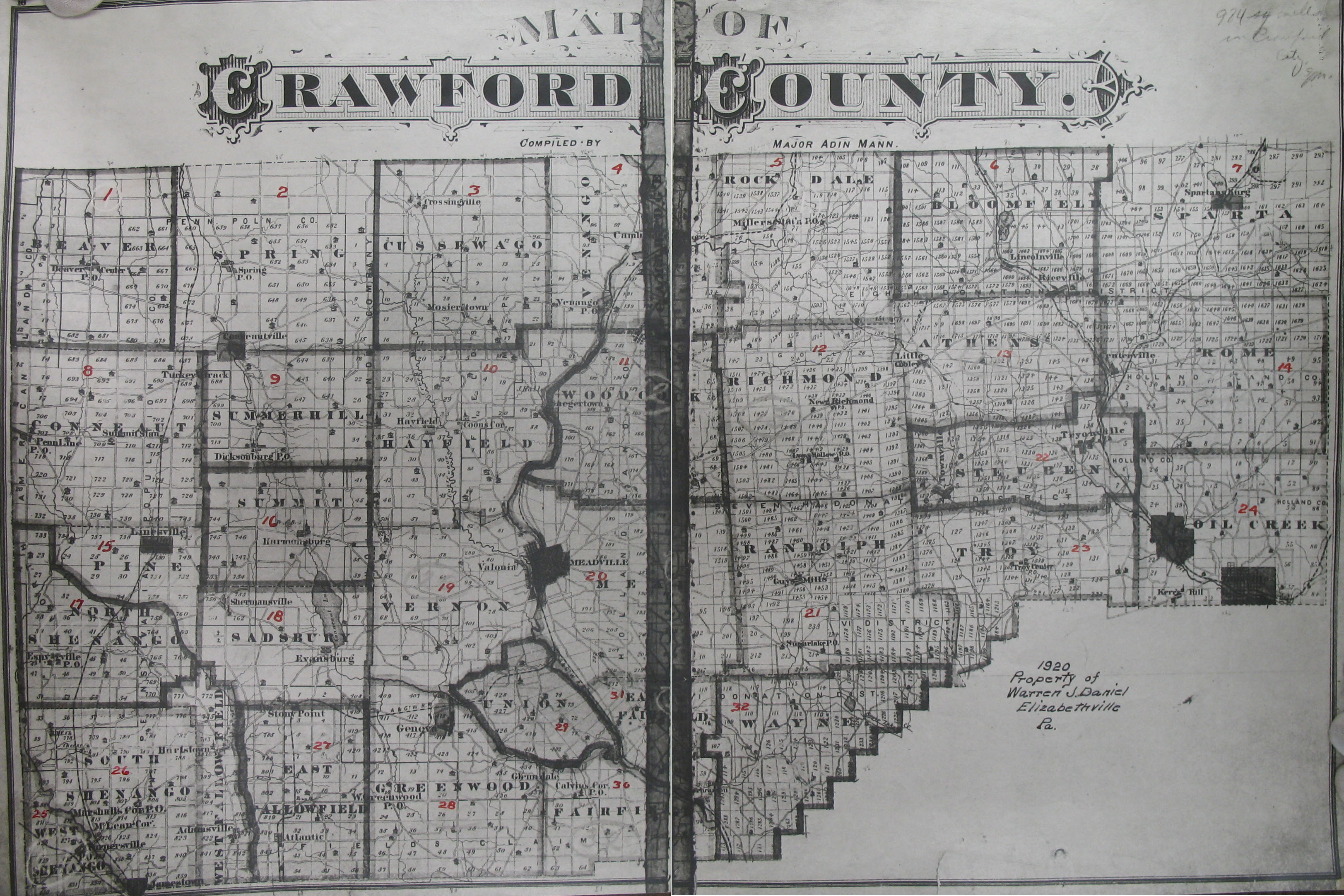 Ancestor Tracks: Crawford County Landowner Map, Undated