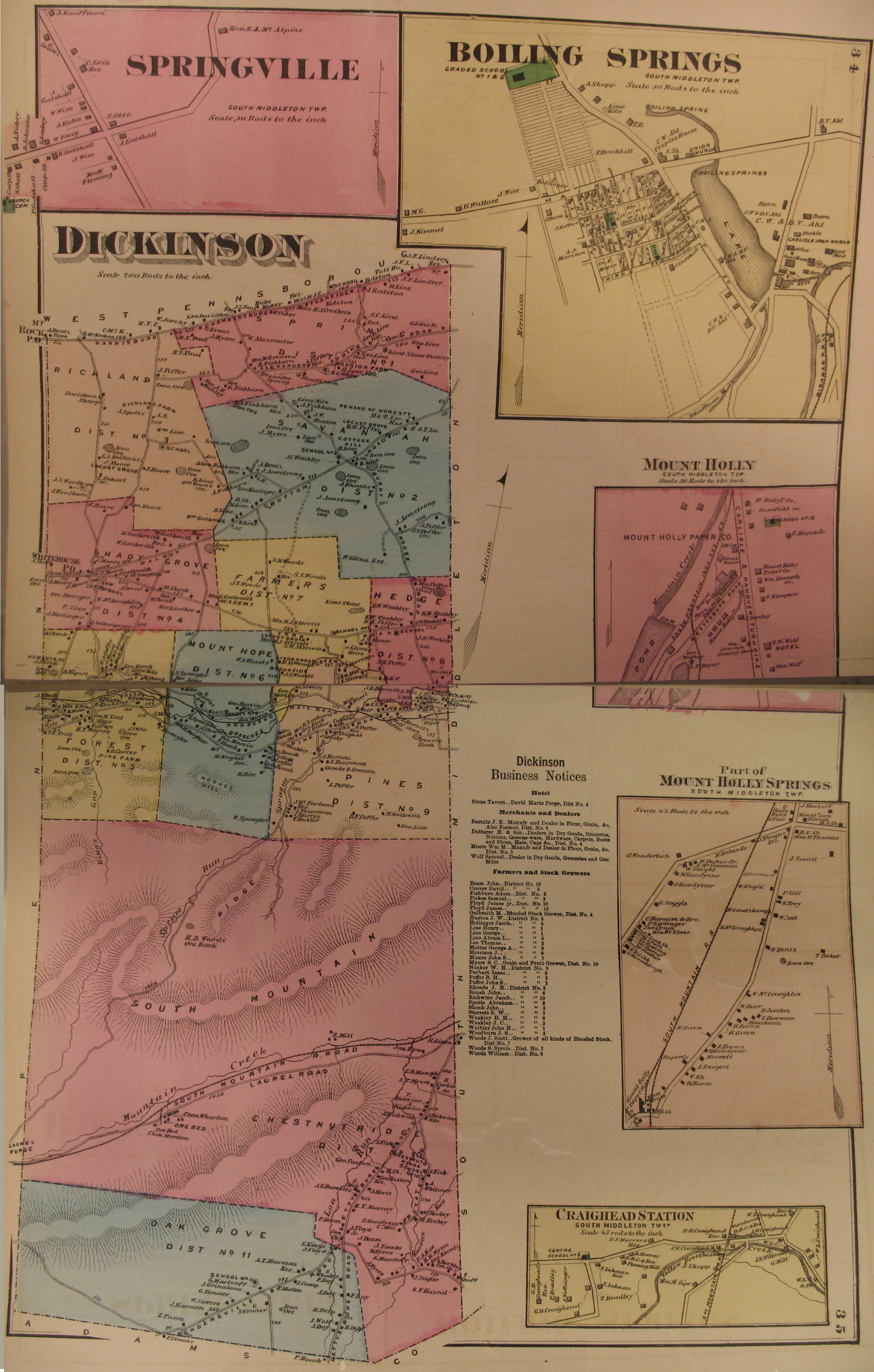 Cumberland County 1872 Atlas, Warrantee Mapsboiling springs town