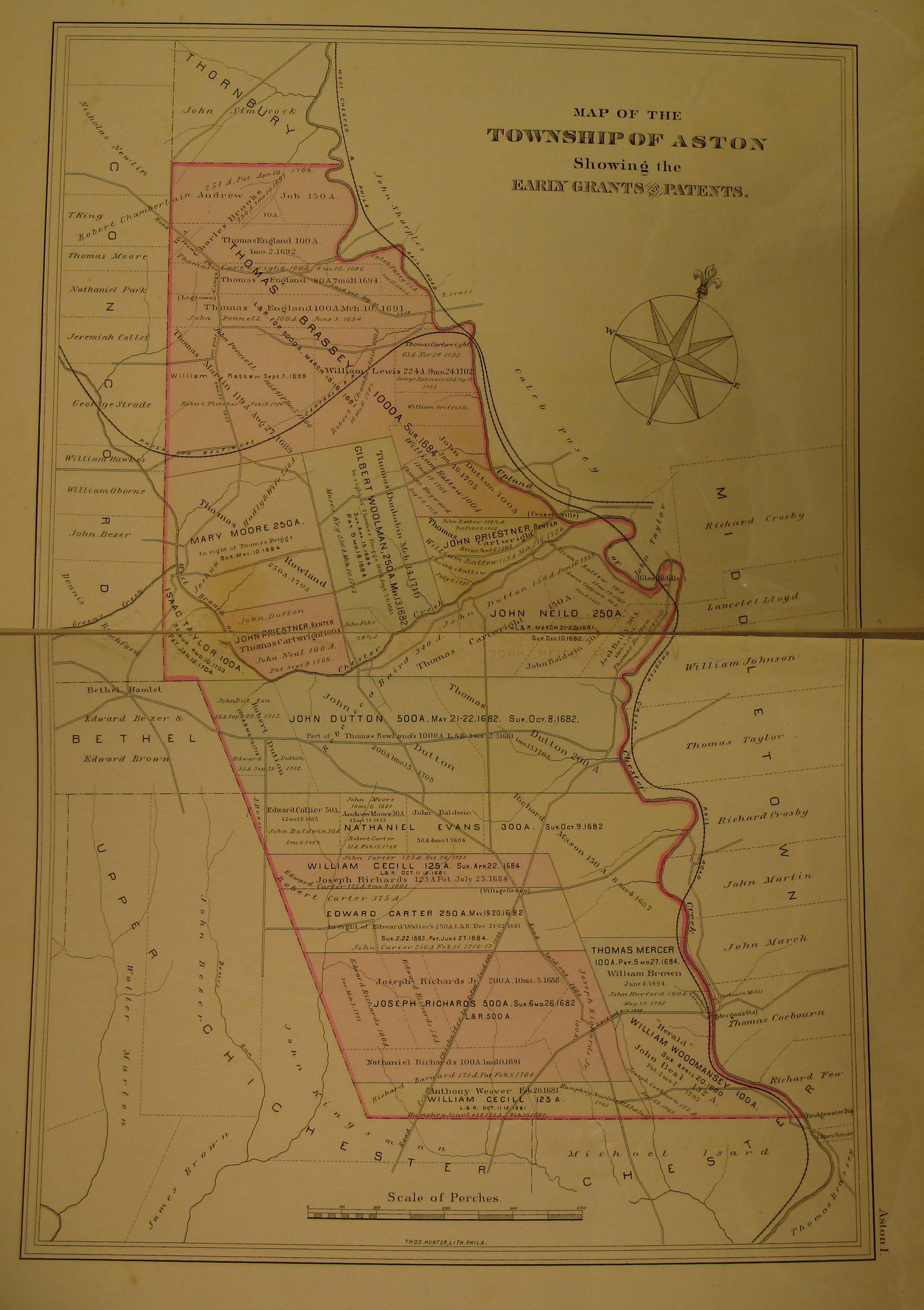 Townships Aston Township Delaware County Warrantee Atlas