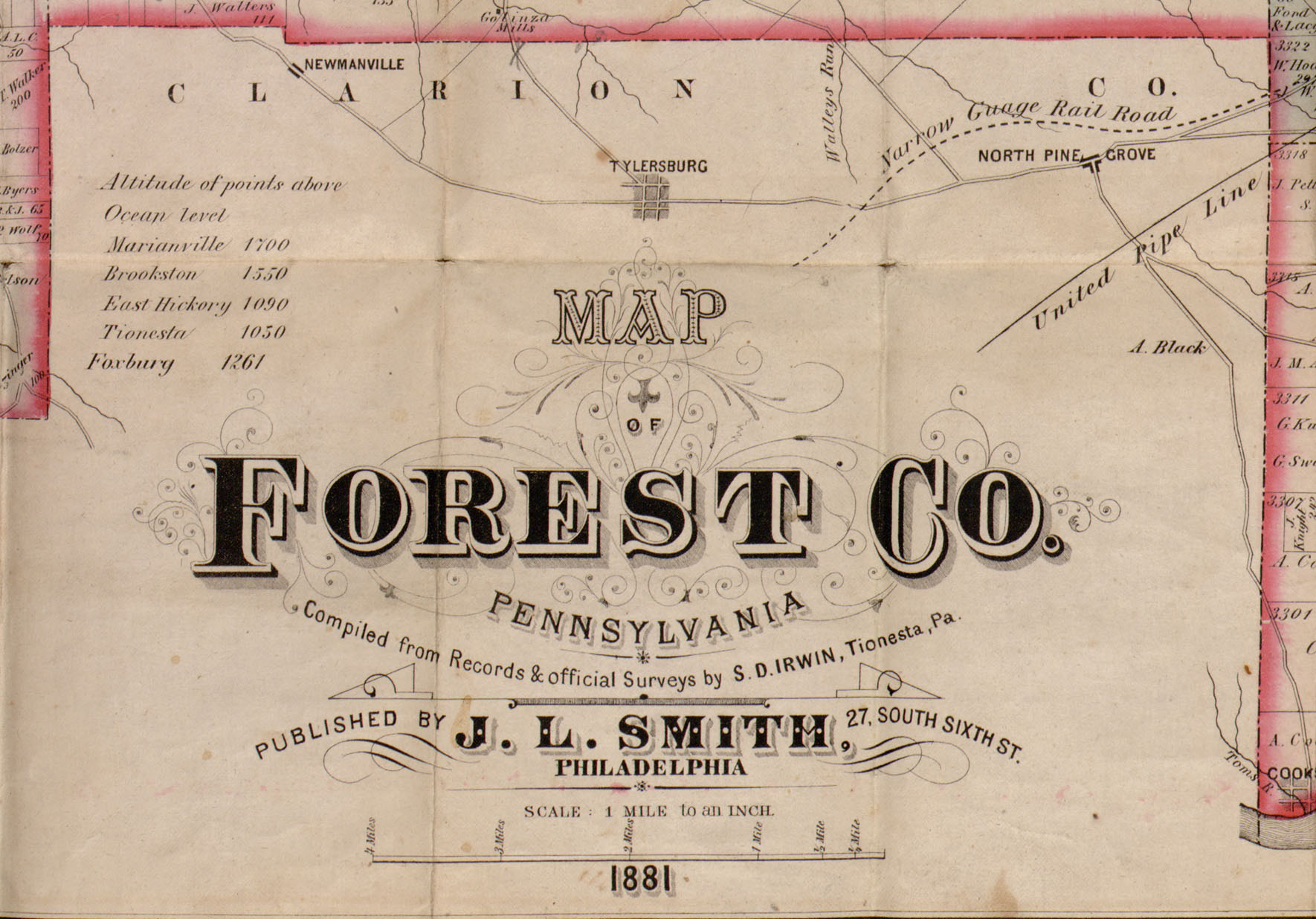 Forest County 1881 Map