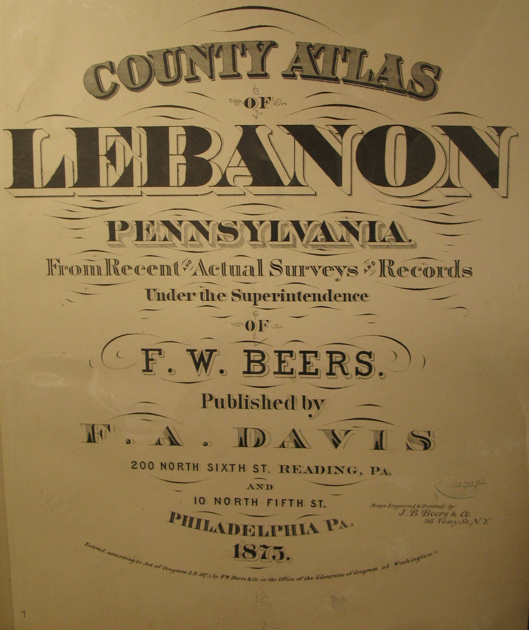 1875 Lebanon Co. Atlas